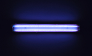 Photo of a fluorescent UV light bulb.