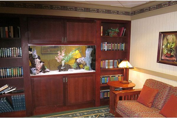Picture of a home aquarium in an office.